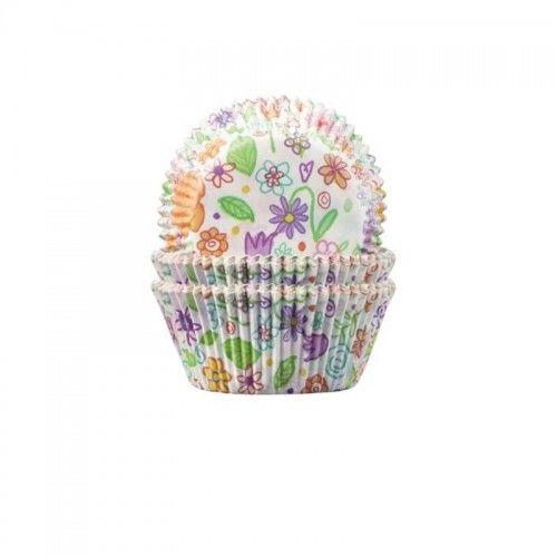 Foremki na muffinki, babeczki w kwiatki, 60 szt.