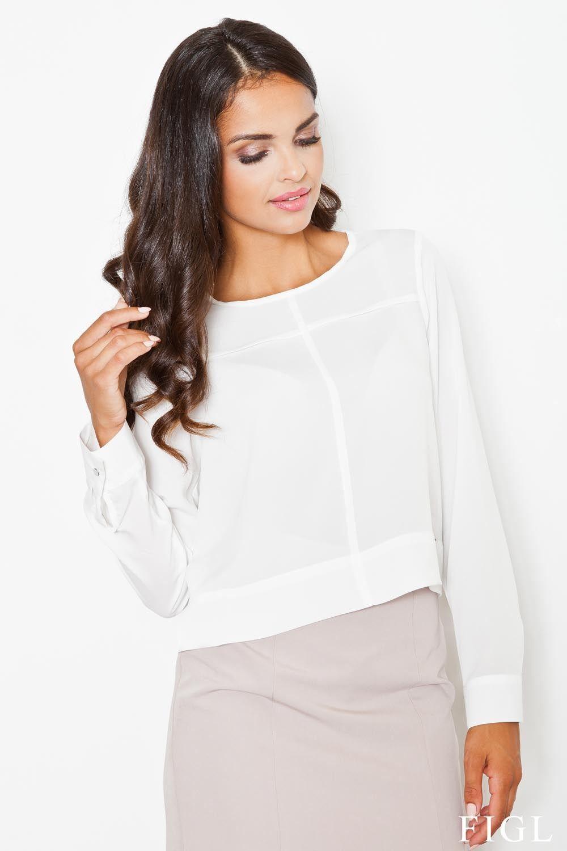 Ecru tkaninowa krótka bluzka z zakładkami z długim rękawem