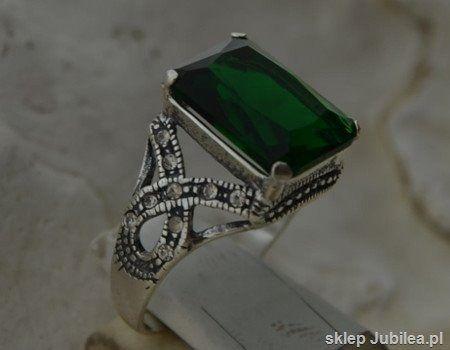 Pierścionek srebrny ze szmaragdem - verso