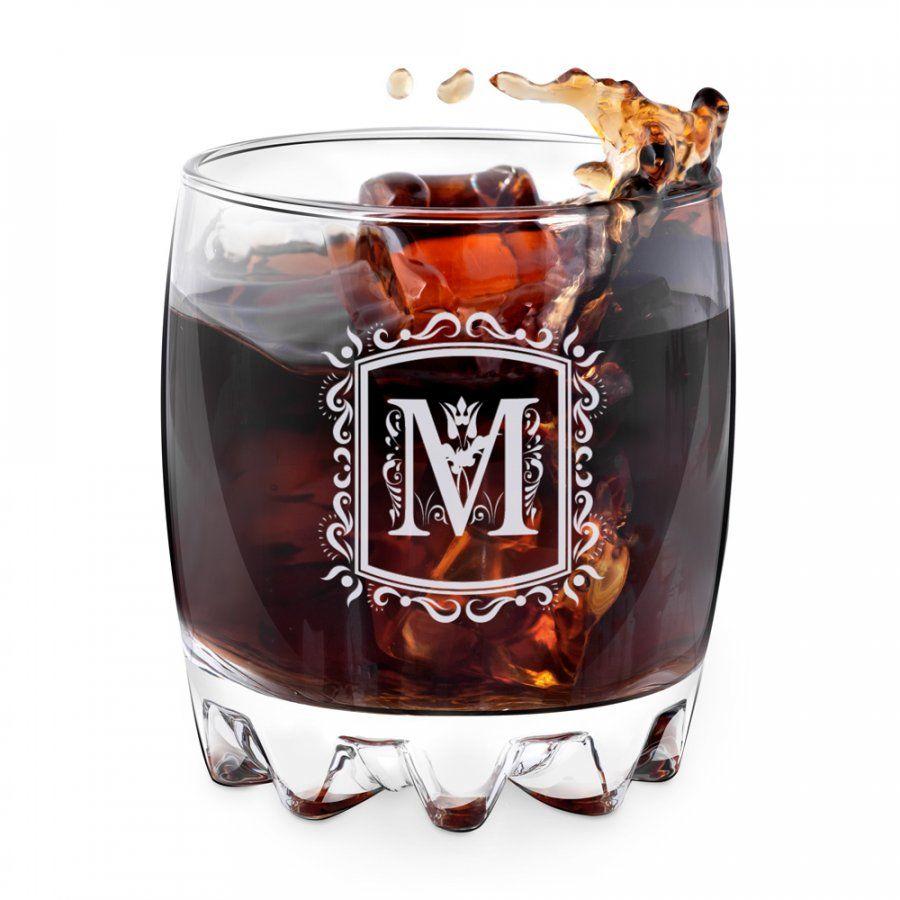 Szklanka grawerowana sylwana z inicjałem