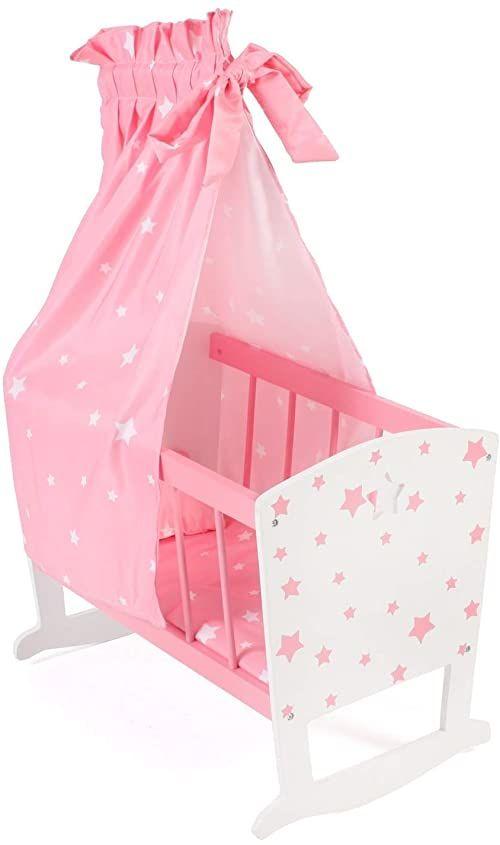 Bayer Chic 2000 - 515 88 - kołyska dla lalek do ok. 46 cm, łóżko dla lalek, meble dla lalek, gwiazdy różowe