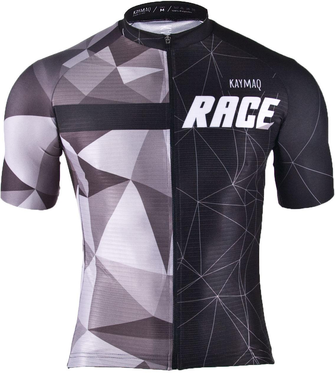 KAYMAQ M30 RACE męska koszulka rowerowa z krótkim rękawem czarny-szary Rozmiar: L,m30raceczarnoszary