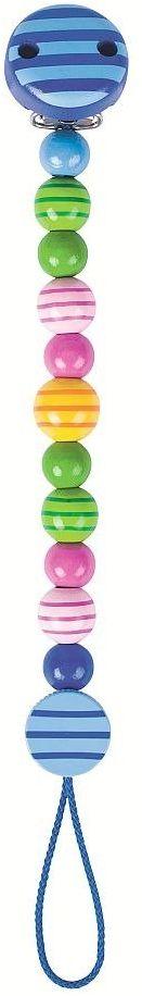 Łańcuszek do smoczka, kolorowe koraliki w paseczki, 732320-Heimess, zabawki dla niemowląt