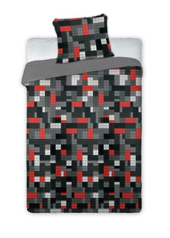 Pościel bawełniana 160x200 Klocki 025 jak lego szare czerwone 3057 czarne białe dwustronna młodzieżowa