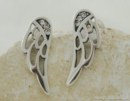 Srebrne kolczyki z cyrkoniami - skrzydła