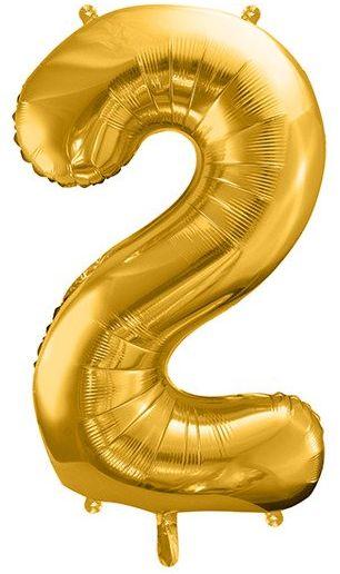 Balon foliowy 2 złoty 86cm 1szt FB1M-2-019
