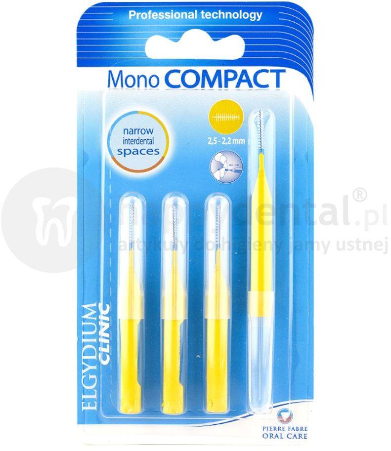 ELGYDIUM Mono COMPACT 2,5-2,2mm szczoteczki międzyzebowe 4 szt. (zółte)