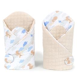 MAMO-TATO Rożek niemowlęcy dwustronn velvet Niedźwiadki beżowe / piaskowy