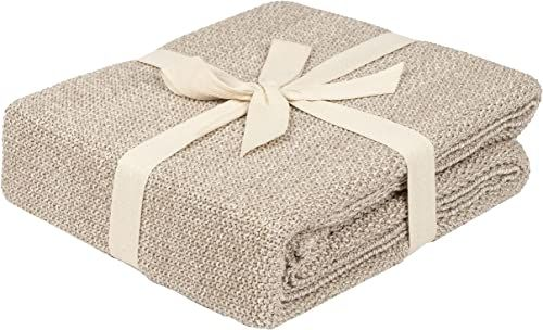 Penguin Home Dzianinowy koc narzutowy 100% bawełna - kamień i naturalny kolor - z bardzo miękkim dotykiem na sofę kanapę i łóżko - ciepły i przytulny koc - 130 x 150 cm (50 x 60 cali)