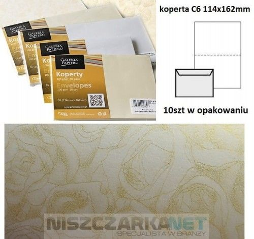 Koperta / koperty ozdobne C6 - RÓŻE KREMOWY opk 10szt 120g/m2
