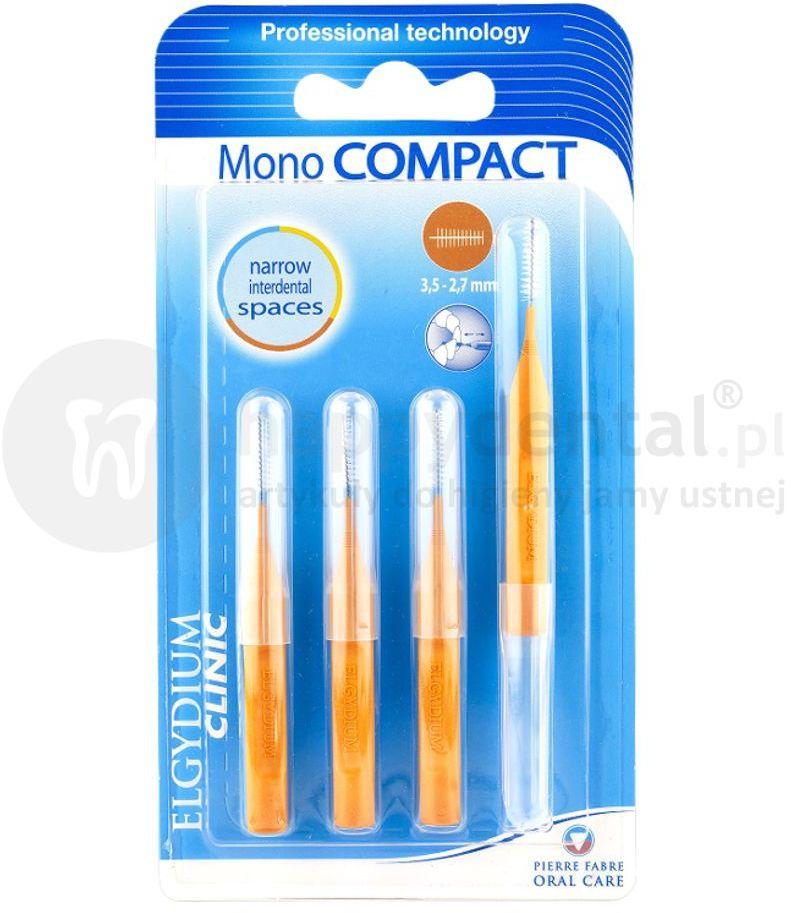 ELGYDIUM Mono COMPACT 3,5-2,7mm szczoteczki międzyzebowe 4 szt. (pomarańczowe)