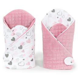 MAMO-TATO Rożek niemowlęcy dwustronny velvet Pastelowe serduszka / różany