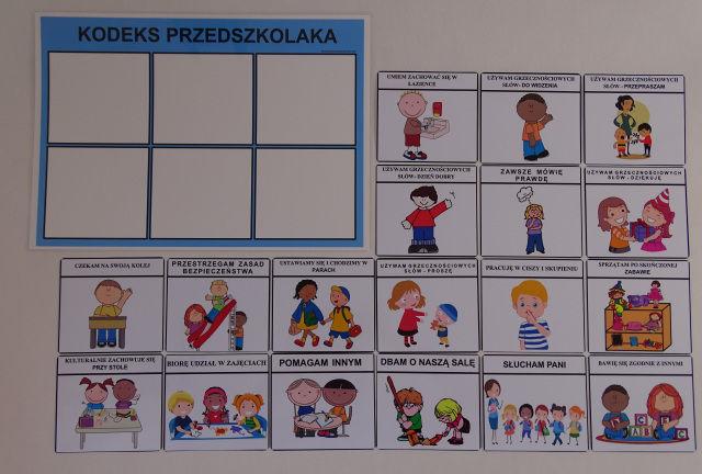 Kodeks przedszkolaka- uzupełnianie obrazkami