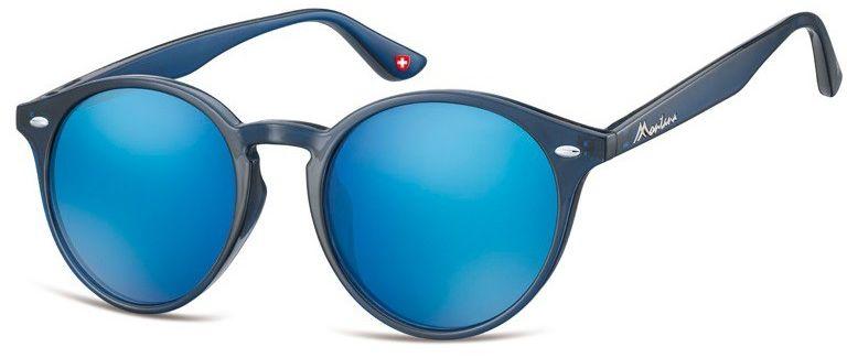 Okulary okragle granatowe lenonki lustrzane MS20D