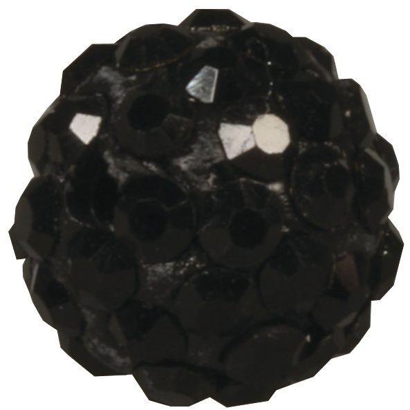 Rayher 14632576 Koraliki Shamballa, 10 mm ø, czarne