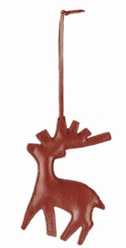Philippi - ozdoba choinkowa ze skóry - renifer - czerwony