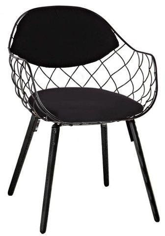 Krzesło DEMON czarne - metal, ekoskóra, podstawa bukowa