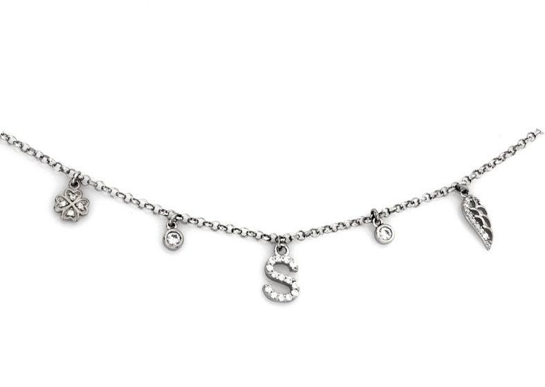 Naszyjnik srebrny 925 z wiszącą literką S skrzydłem i koniczynka