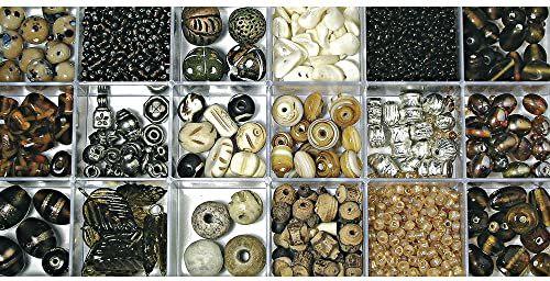RAYHER 14115805, pudełko z koralikami szklanymi, mieszanka kolorów i rozmiarów, pudełko 240 g, topaz