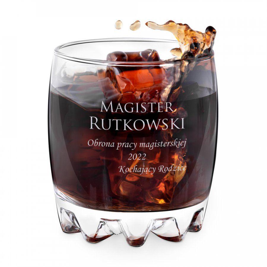 Szklanka grawerowana sylwana z dedykacją dla studenta magistra