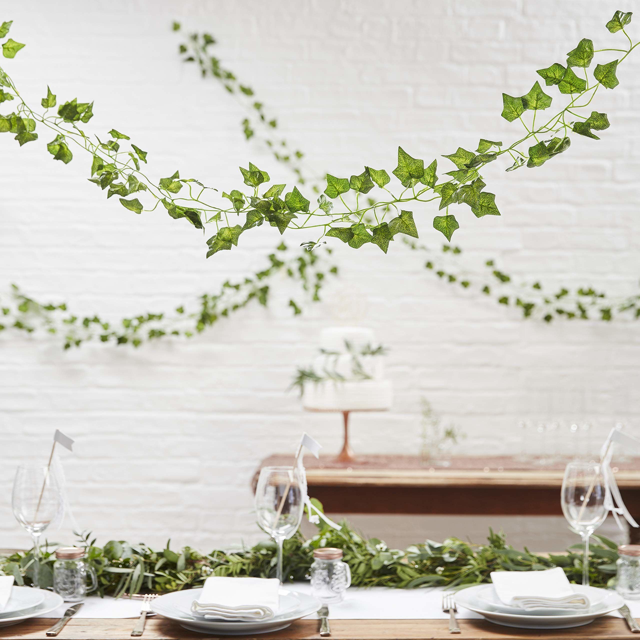 Ginger Ray Sztuczne sztuczne wiszące winorośli rośliny liście girlanda do dekoracji ślubnych 5-pak