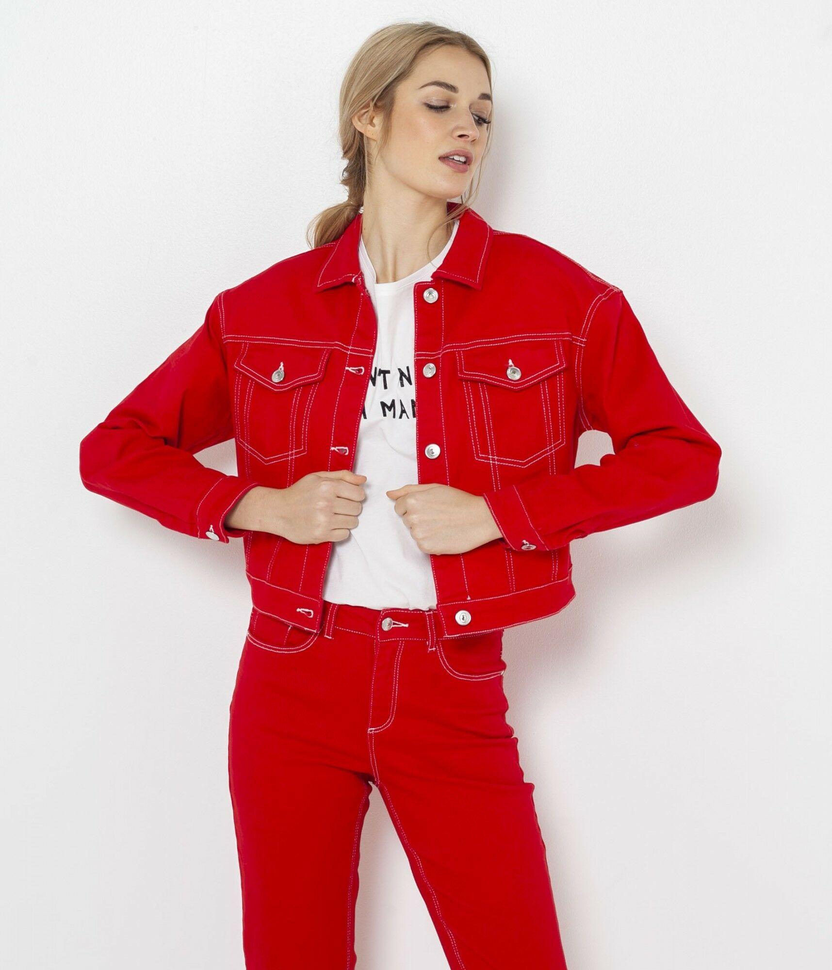 CAMAIEU czerwony dżinsowa kurtka
