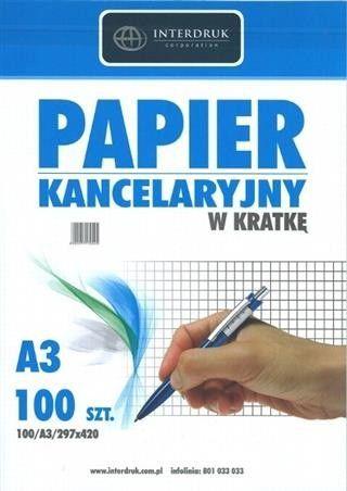 Papier kancelaryjny w kratkę Interdruk, format A3, opakowanie 100 arkuszy -  Rabaty  Porady  Hurt  Autoryzowana dystrybucja  Szybka dostawa