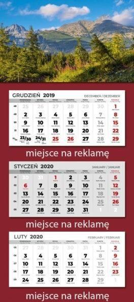 Kalendarz 2020 trójdzielny ZAKŁADKA DO KSIĄŻEK GRATIS DO KAŻDEGO ZAMÓWIENIA