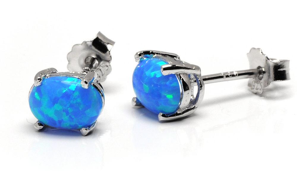 Srebrne Kolczyki Owalne z Niebieskim Opalem