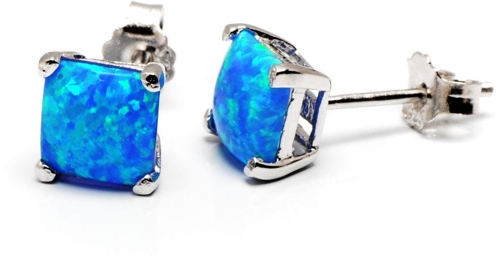 Srebrne Kolczyki Kwadraty z Niebieskim Opalem