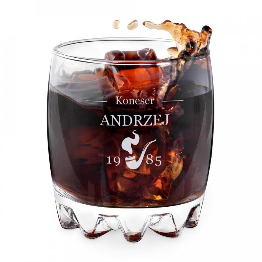 Szklanka grawerowana sylwana z dedykacją dla konesera whisky