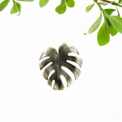 Liść monstery - broszka srebra