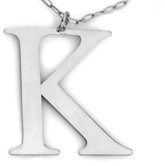 Naszyjnik srebrny z literą K