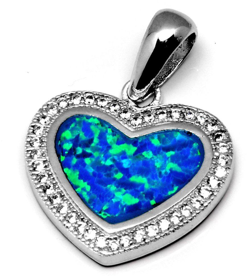 Srebrna Zawieszka Niebieski Serce z Opalem
