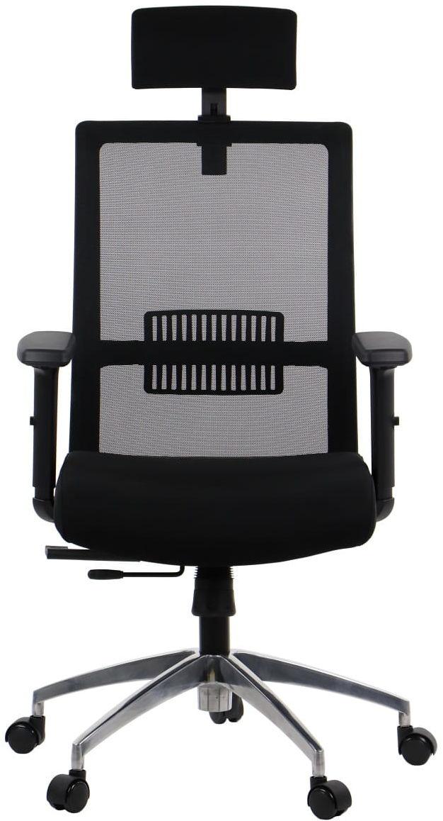 Fotel biurowy obrotowy RIVERTON - zagłówek, oparcie siatkowe, podstawa aluminiowa, różne kolory