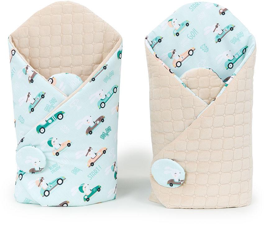 MAMO-TATO Rożek niemowlęcy dwustronny velvet Wyścigówki miętowe / piaskowy