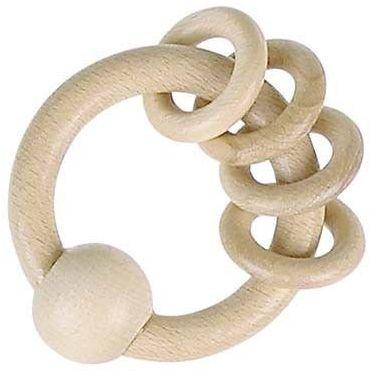 Naturalna grzechotka z 4 kółkami - drewniana grzechotka dla dzieci, 730800-Heimess, zabawki dla niemowlaków