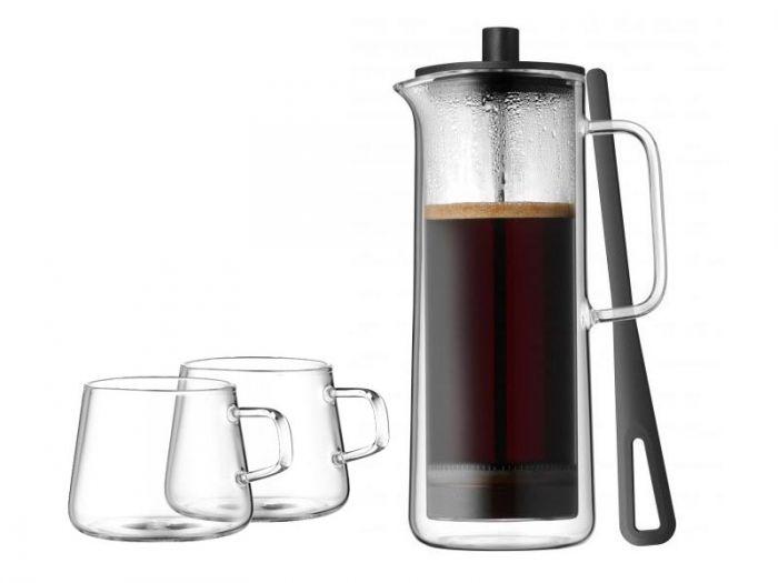 WMF Coffee Time - Kafeteria Tłokowa 750 ml Podwójne Ścianki + 2 Filiżanki