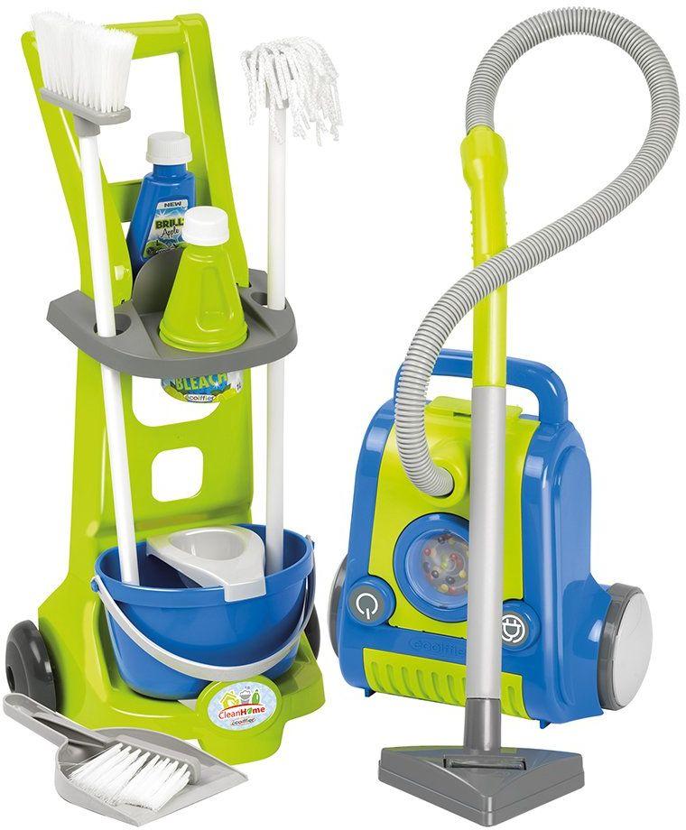 Ecoiffier 1770 zabawka wózek do czyszczenia i odkurzacz, niebieski i zielony