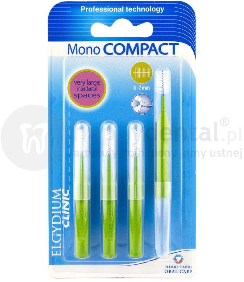 ELGYDIUM Mono COMPACT 8-7mm szczoteczki międzyzebowe 4 szt. (zielone)