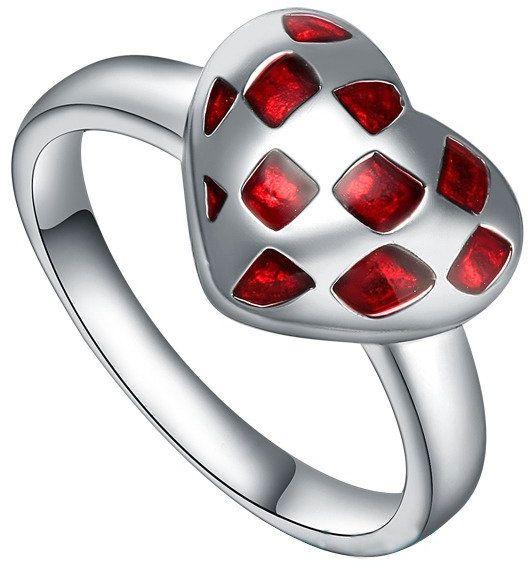 Srebrny Pierścionek Czerwone Serduszko