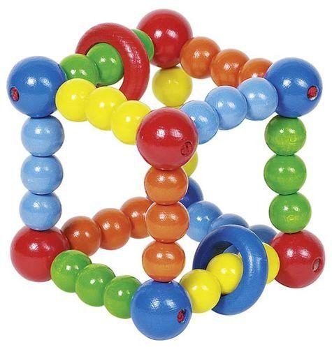 Sześcian z kolorowych korali - grzechotka dla dzieci, 734910-Heimess - zabawki dla niemowlaków, z drewna