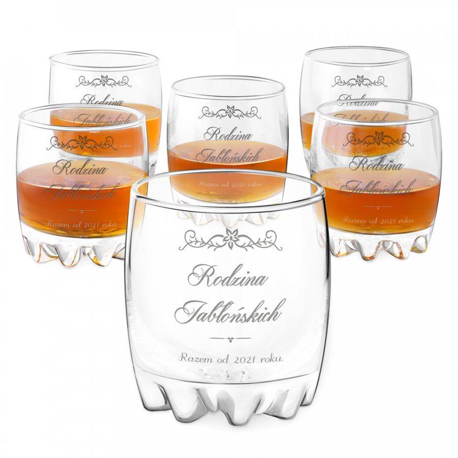 Szklanki grawerowane sylwana x6 rodzina na ślub rocznicę