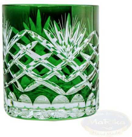 Szmaragdowe kryształowe szklanki do whisky Ananas 6 sztuk