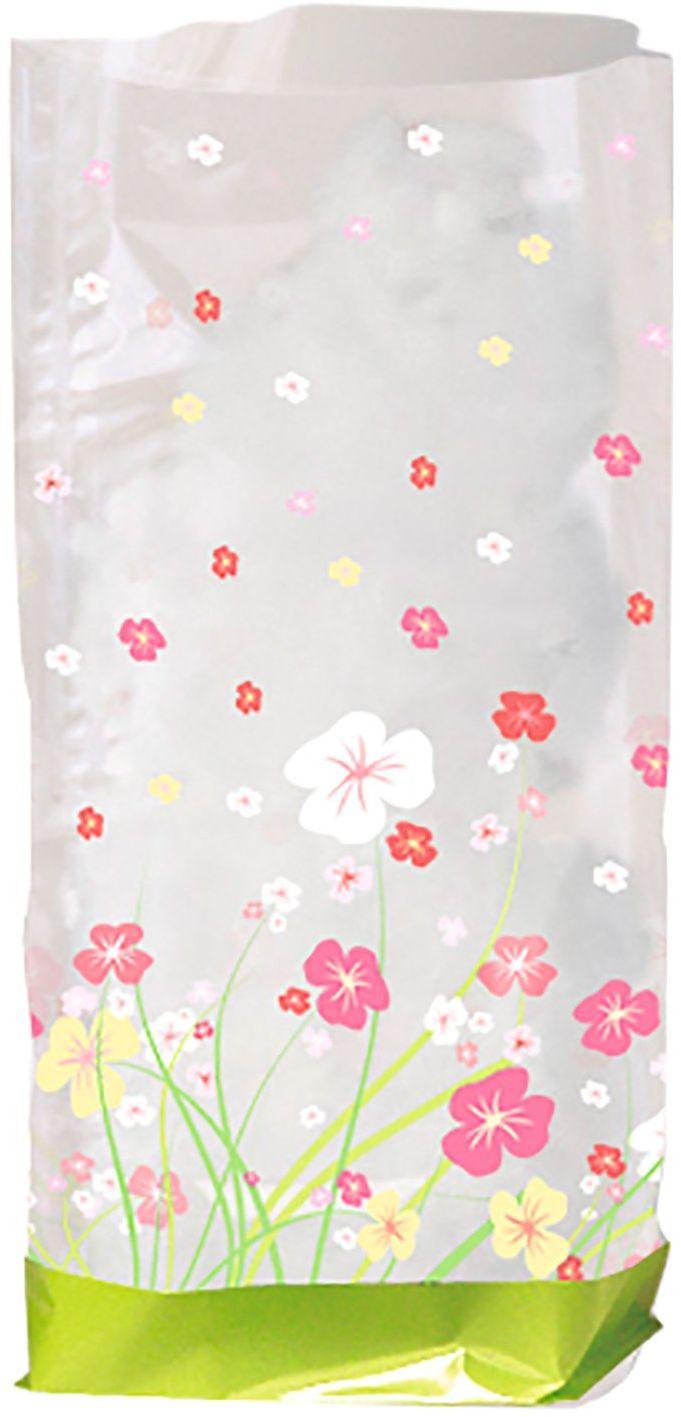 Ursus 5910000 - woreczek prezentowy, kwiaty, 10 sztuk, z folii przeznaczonej do kontaktu z żywnością, ok. 11,5 x 19 cm, przezroczysty, z nadrukiem, idealny na małe niespodzianki