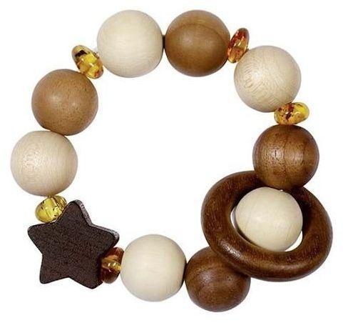Drewniana grzechotka dla dzieci Bursztynowe niebo 763940-Heimess Nature, prezent dla niemowlaka