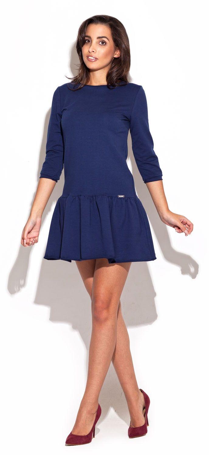 Niebieska dzianinowa sukienka z falbanką na dole