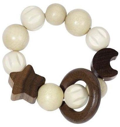 Księżyc i gwiazda - drewniana grzechotka dla dzieci, 734930-Heimess, zabawki dla niemowlaków
