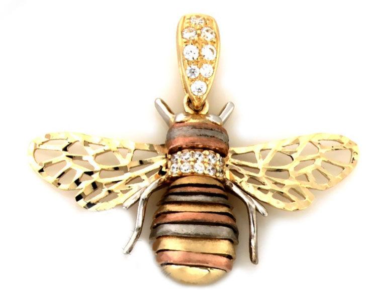 Złota przywieszka 585 mucha w trzech kolorach złota