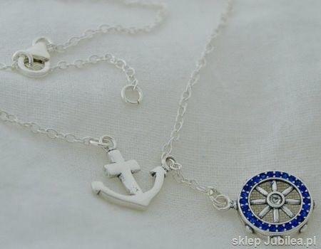 Sea ster kotwica - srebrny naszyjnik z szafirami